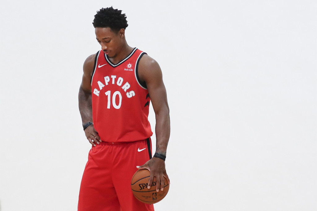 TORONTO, ON - SEPTEMBER, 25 DeMar DeRozen poses for photos. It was media day for the Toronto Raptors at their training facility, the BioSteel Centre. Coaches and players met with media, answered questions and had a variety of photographs taken. (Richard Lautens/Toronto Star via Getty Images)